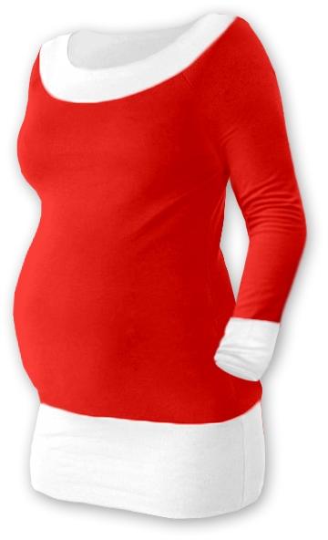 Tehotenská tunika DUO - červená/biela