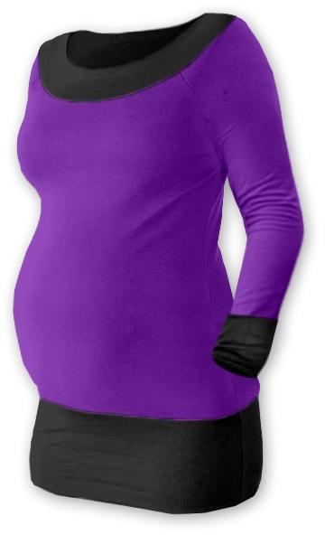 Tehotenská tunika DUO - fialová / čierna