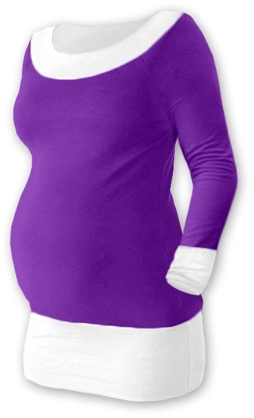 Tehotenská tunika DUO - fialová / biela