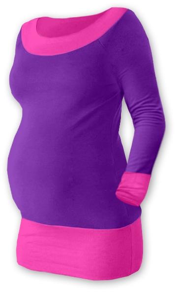 Tehotenská tunika DUO - fialová/ružová