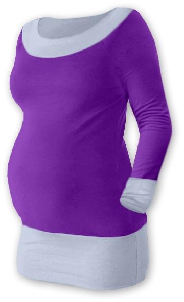 Tehotenská tunika DUO - fialová / sivá