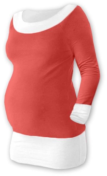 Tehotenská tunika DUO - lososvěoranž / biela