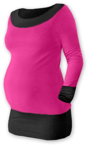 Tehotenská tunika DUO - ružová/čierna
