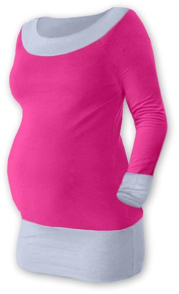 Tehotenská tunika DUO - ružová/šedá