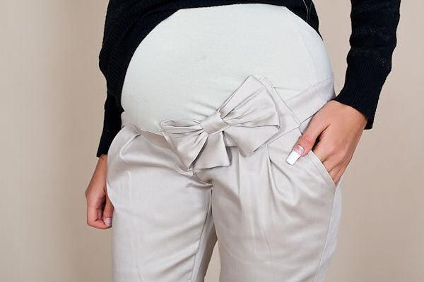 Tehotenské nohavice s mašľou - bežové veľ.S