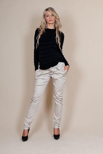 Tehotenské nohavice s mašľou - Béžové, XL