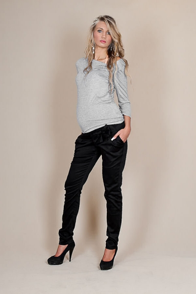 Be MaaMaa Tehotenské nohavice s mašľou - Čierne-L (40)