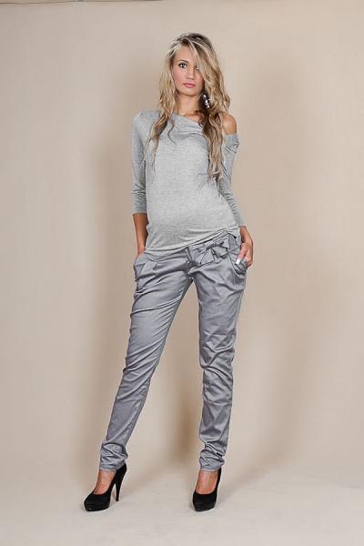 Tehotenské nohavice s mašľou - Šedý popolček, XL