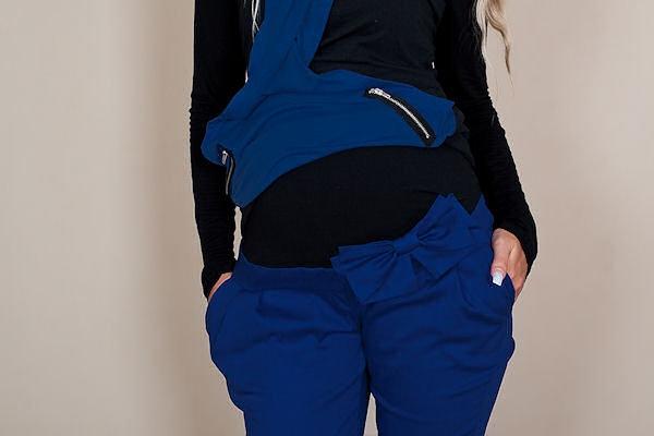 Tehotenské nohavice s mašľou - modré