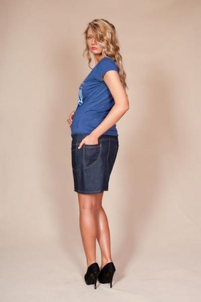 Tehotenská sukňa JEANS - granátová