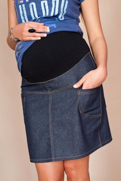 Be MaaMaa Tehotenské sukne JEANS s vreckami - granátová