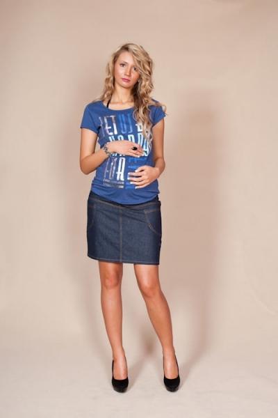 Be MaaMaa Tehotenské sukne JEANS s vreckami - granátová, vel. XXL-XXL (44)