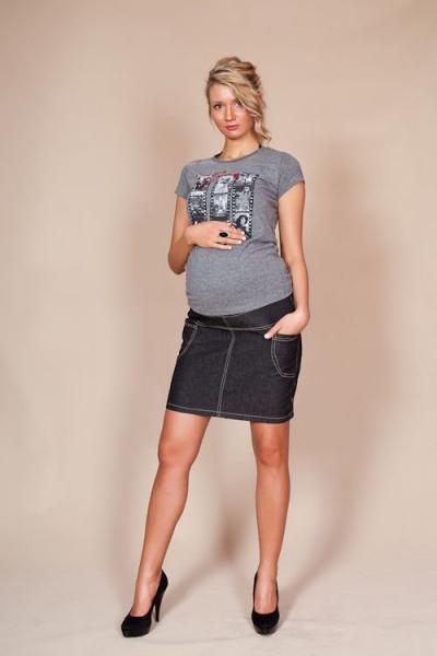 Be MaaMaa Tehotenské sukne JEANS s vreckami - čierna