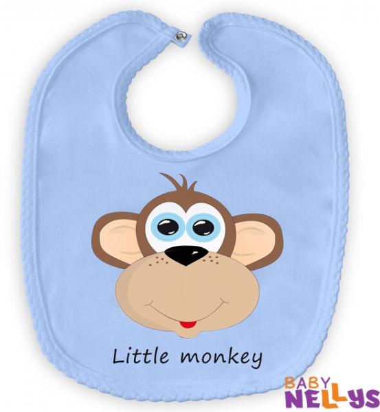 Podbradník bavlna Little Monkey - modrý