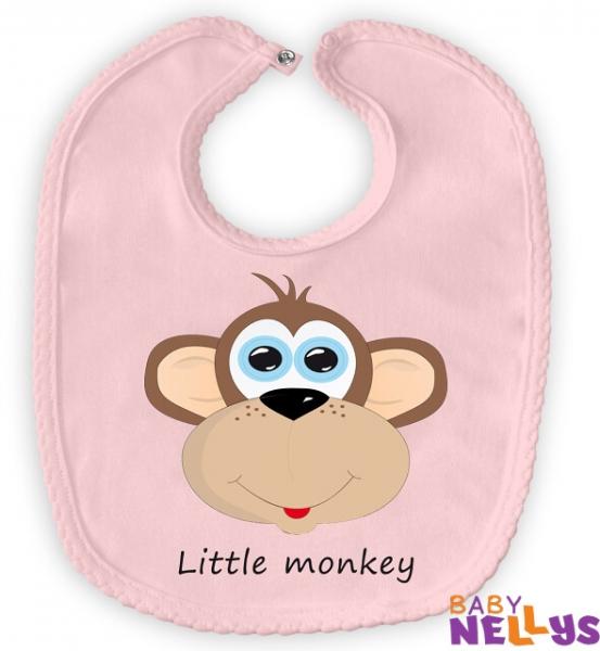 Podbradník bavlna Baby Nellys® Little Monkey - ružový