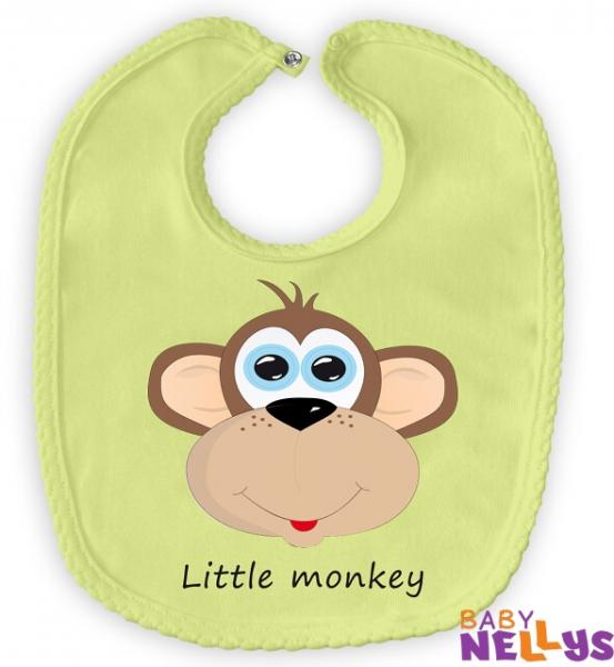 Podbradník bavlna Baby Nellys® Little Monkey - zelený