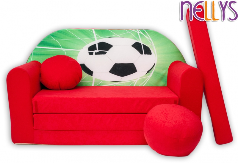 NELLYS Rozkladacia detská pohovka 36R - Futbal v červenej