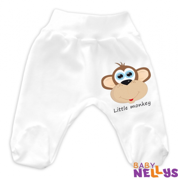 Baby Nellys Bavlnené polodupačky Little Monkey - biela