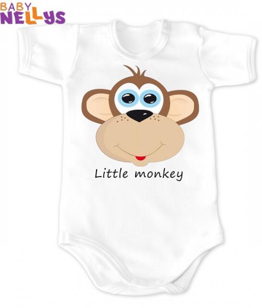 Baby Nellys Body Kr. rukáv vel. 62, Little Monkey, biela