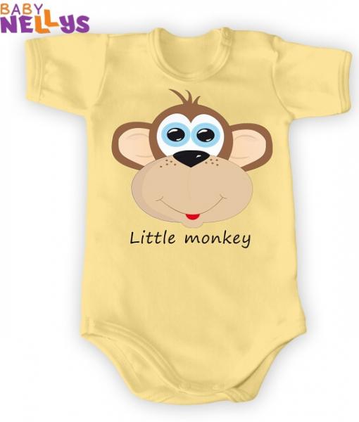 Body Kr. rukáv Little Monkey, krém / žltá