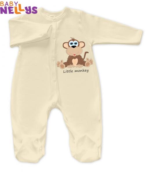 Overal Little Monkey Baby Nellys - ecru / smotana