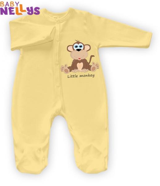Overal Little Monkey Baby Nellys - krém / žltý