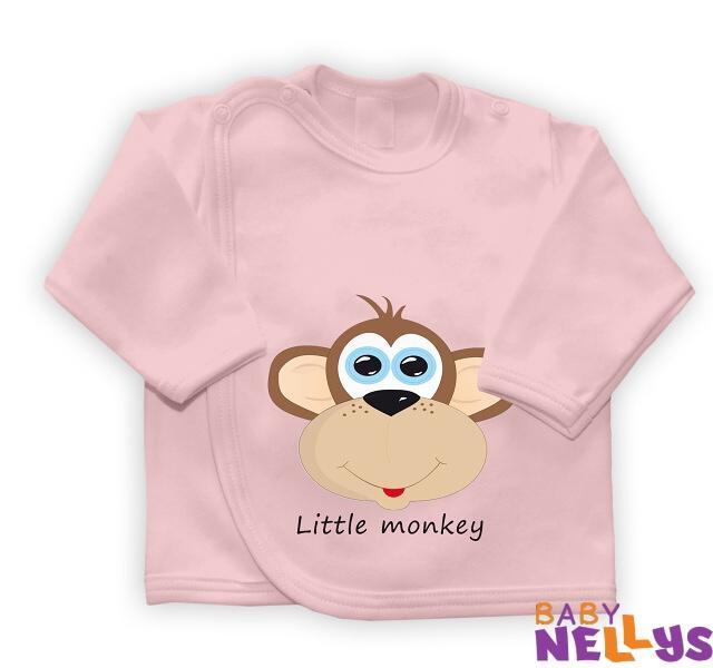Baby Nellys Košieľka so zap. na boku Little Monkey, ružová