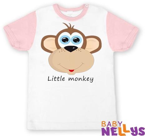 Tričko krátky rukáv Little Monkey - sv. ružové