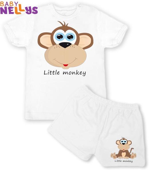 Tričko krátky rukáv + kraťasky Little Monkey, biela
