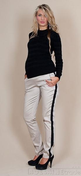 Tehotenské nohavice Karolina - béžové, XL