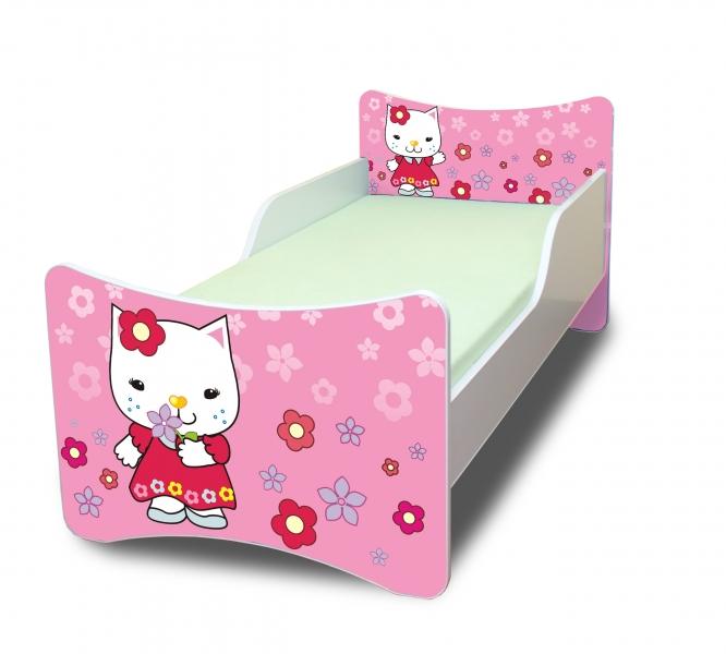 NELLYS Detská posteľ so zábranou Mačička s kytičkou - 160x90 cm