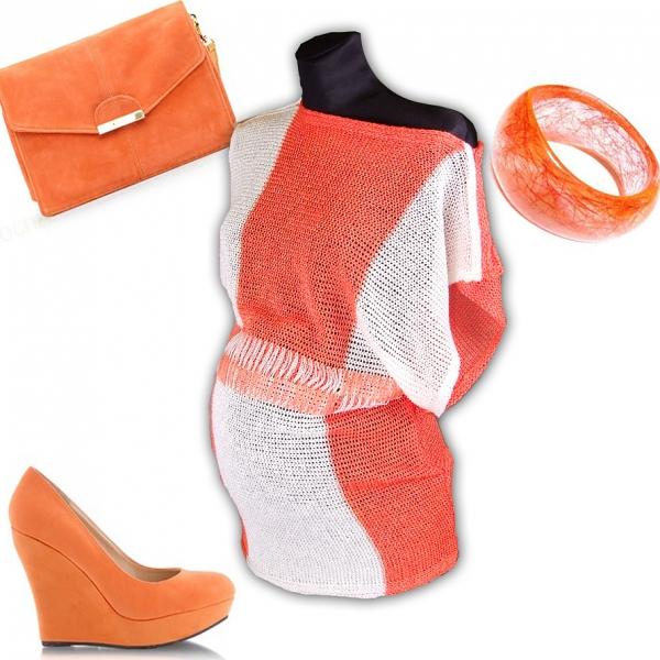 Be MaaMaa Tehotenský svetrík, ľahké kimono Nela - Orange