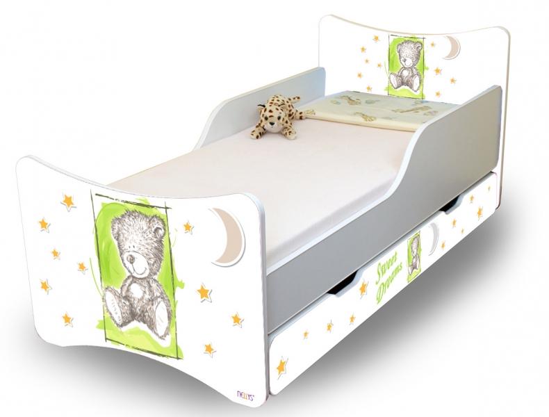 Detská posteľ NELLYS Sweet TEDDY s zásuvkou - zelený, 140x70