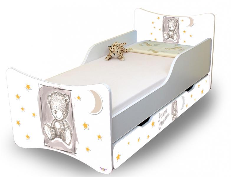 Detská posteľ NELLYS Sweet TEDDY s zásuvkou - sivý, 140x70