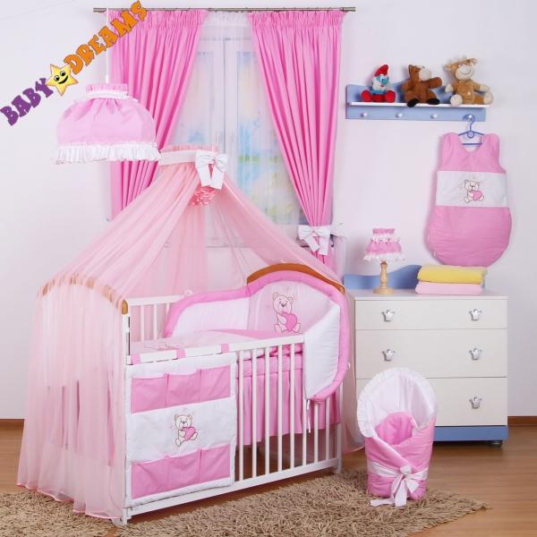 Luxusný mega set s moskytierou z šifónu - Míša Nellys srdiečko, ružový 135x100
