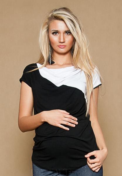 Be MaaMaa Tehotenské tričko / blúzka Elissa - čierna / biela