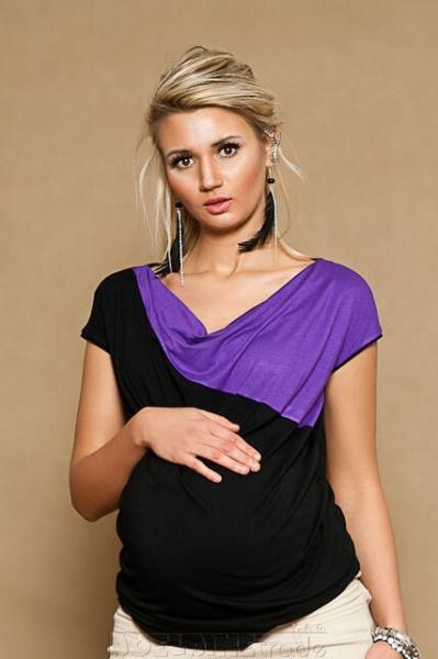 Tehotenské tričko / blúzka Elissa - čierna / fialová