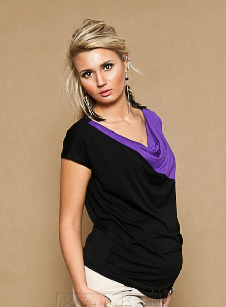 Be MaaMaa Tehotenské tričko / blúzka Elissa - čierna / fialová