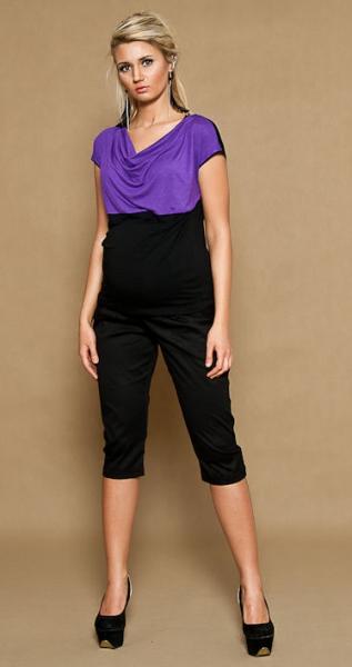 Tehotenské nohavice ALADINKY 3/4 - čierne, XL