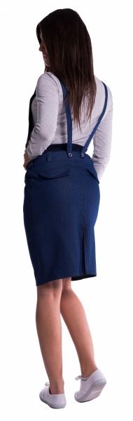 Tehotenské šaty/sukňa na traky - čierna
