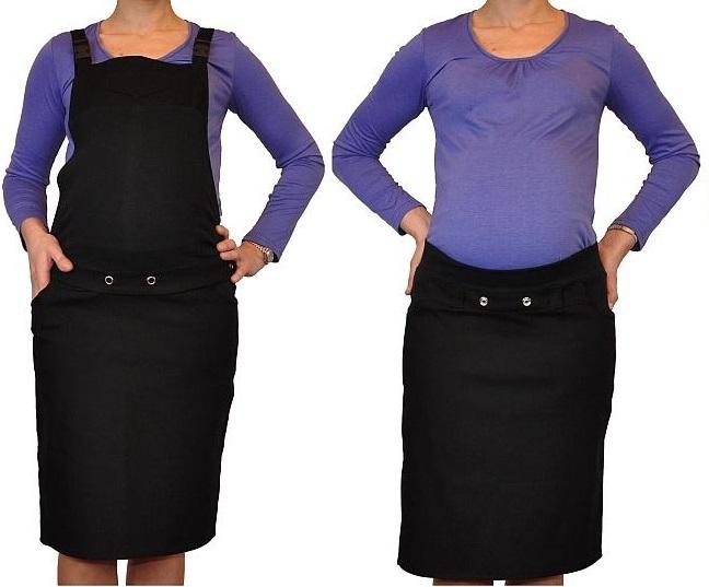 Tehotenské šaty / sukne s trakmi - čierne