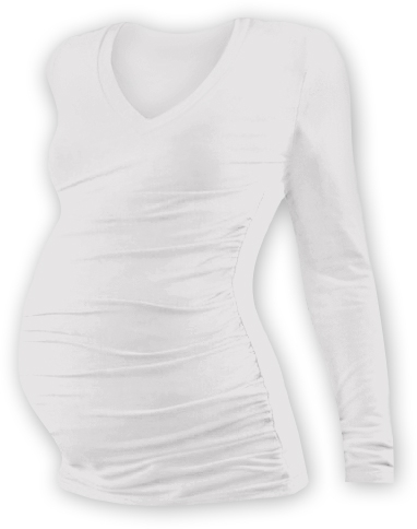 Tehotenské tričko dl. rukáv s výstrihom do V - smetanové