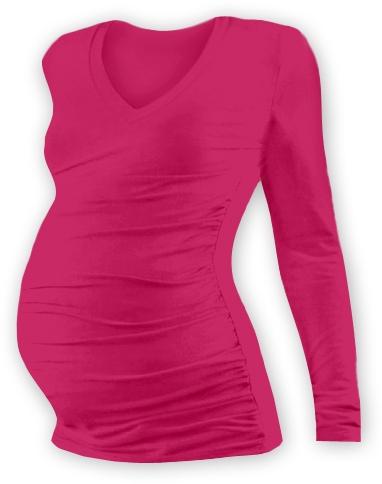 Tehotenské tričko  s výstrihom do V - sýto ružové