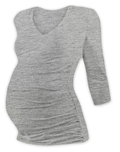 Tehotenské tričko 3/4 rukáv s výstrihom do V - šedý melír