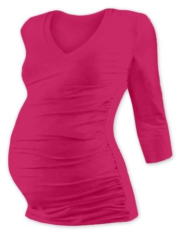 Tehotenské tričko 3/4 rukáv s výstrihom do V - sýto ružové