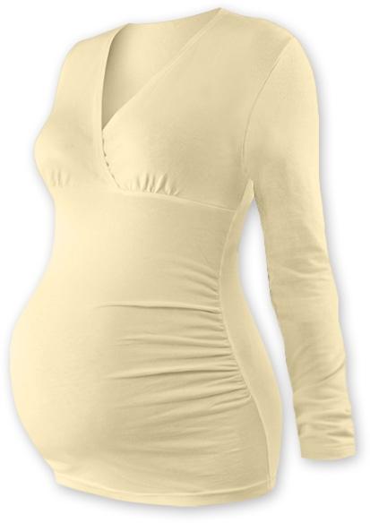 Tehotenské tričko / tunika dlhý rukáv EVA - latte