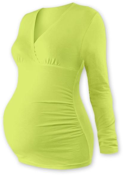 Tehotenské tričko / tunika dlhý rukáv EVA - sv. zelené veľ. S/M