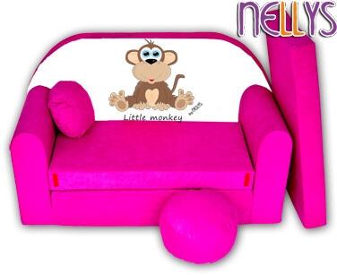 Rozkladacia detská pohovka Little Monkey Nellys - ružová