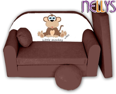 Rozkladacia detská pohovka Little Monkey Nellys - hnedá