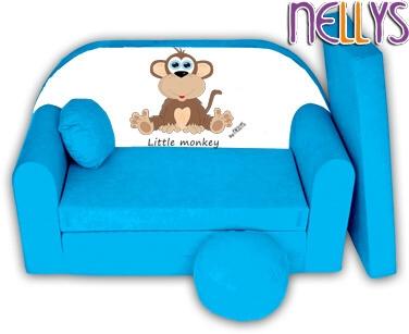Rozkladacia detská pohovka Little Monkey Nellys - modrá